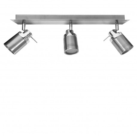 Powersave directional 3 head chrome and brushed ceiling light bar powersave directional 3 head chrome and brushed steel bathroom ceiling light bar with gu10 spot light aloadofball Choice Image