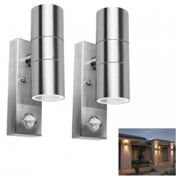 2 Pack of Powermaster Outdoor Dual Up Down Wall Light with PIR Motion Sensor