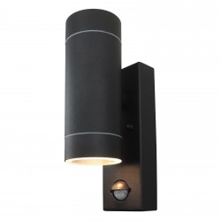 Powersave Black Outdoor Dual Up Down Wall Light with PIR Sensor