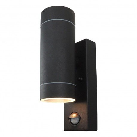 Powersave black outdoor up down wall light with pir motion sensor powersave black outdoor dual up down wall light with pir sensor mozeypictures Image collections